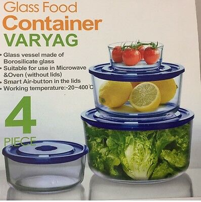 4pc Oven Microwave Safe Round Glass Container Food Storage Set & Air Vent Lids