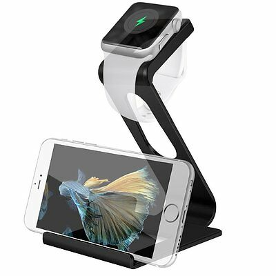 2in1 Aluminum Charging Stand Cradle Dock Station for Apple Watch iPhone Galaxy