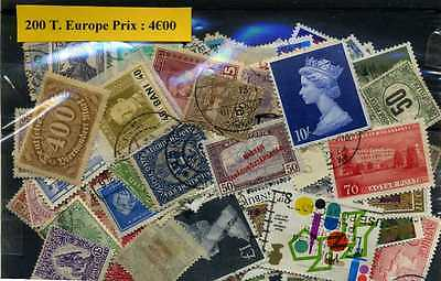 Timbres Europe 200 timbres différents , nombreux pays