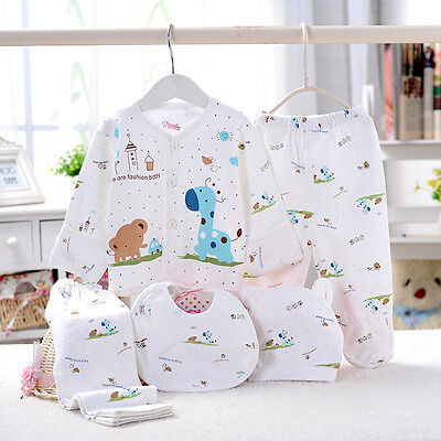 5PCS Set Newborn-3M Infant Baby Boy Girls Soft Cotton Cartoon Animals Clothes US