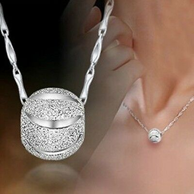 NEW 925 Sterling Silver Ball Pendant Charm Women Necklace Chain Jewelry Gift