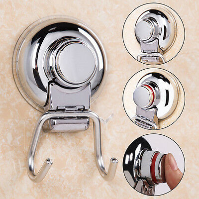 Kitchen Stainless Steel Double Hook Strong Vacuum Suction Cup Hanger New