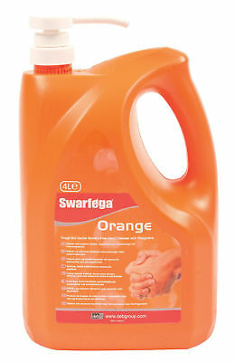 Swarfega 4L Orange Hand Cleaner Garage Natural Cleanse Solvent Free Pump Action