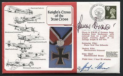 Knight's Cross of the Iron Cross Cover Signed Pilot Luftwaffe pilot Hannes Wiese