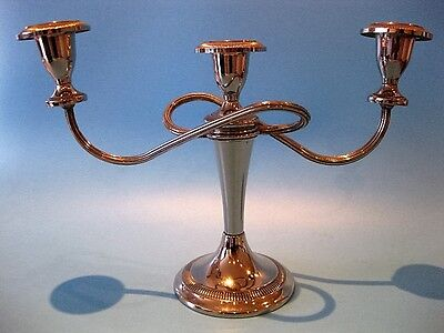 Very Nice Vintage Silver Plated Three Arm Regency Style Table Candelabra