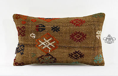"""Vintage Embroidered Pillow Turkish Handwoven Camel Wool Kilim Pillowcase 12x20"""""""