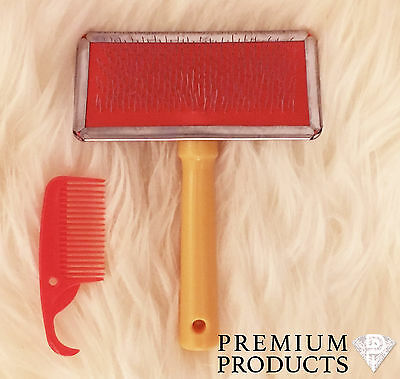 Rug Brush - Sheepskin & Wool Rug Slicker With Small Comb Included