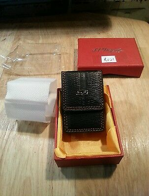 New St Dupont large black leather lighter pouch and boxed ~ RV21  (no lighter)
