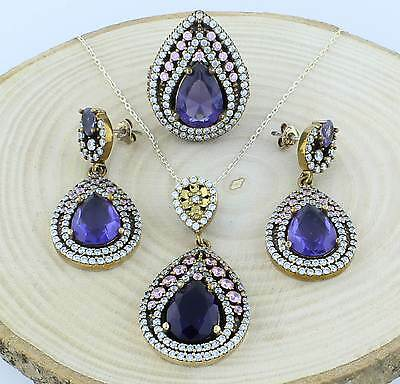 Ottoman Hurrem Sultan Turkish Silver Set Ring Earrings Pendant with Amethyst