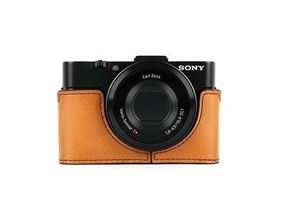 Genuine Leather Camera Half Case Cover Pouch Bag Gift For Sony RX100 II M2 Brown