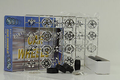 16 Rims + Spinners + Tyres 8 Axles Set Rim Set chrome tuning Diorama 1:18