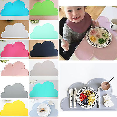 New Kids Cloud Silicone Shaped Placemat Pad Eating Dining Table Food Mat Coaster
