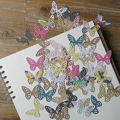 50 x pretty patterned butterfly card punchies toppers pink green floral