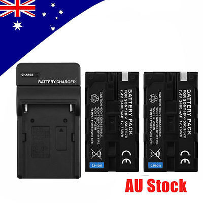 2*Rechargeable 7.4V 2200mAh NP-F550/F570 Battery+Wall Charger f LED Video Light