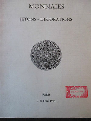 Vintage Auction Catalogue In French Monnaies (Jetons-Decorations) Paris May 1984