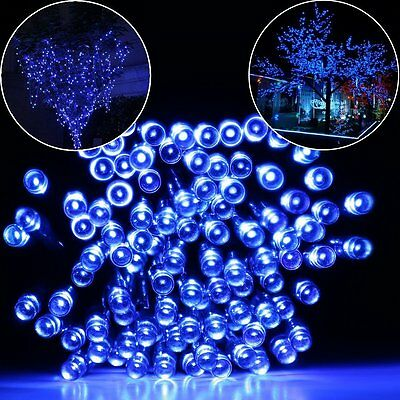 200 LED Blue Solar Powered Fairy Garden Fence Patio Outdoor Lights Lighting