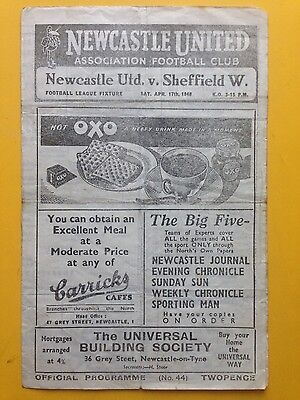 NEWCASTLE UNITED v SHEFFIELD WEDNESDAY Division Two 1947/48