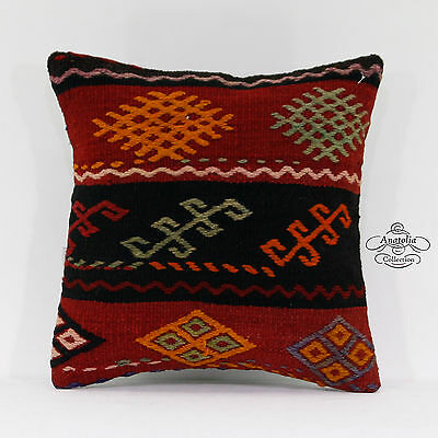 Vintage Turkish Kilim Pillow Embroidered Eclectic Turkish Cushion Cover 16x16""