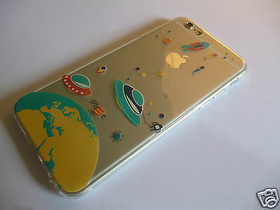 iPhone 6 6S Spaceship Astro Planet Design Clear Jelly Gel Rubber Case by Z-TECH