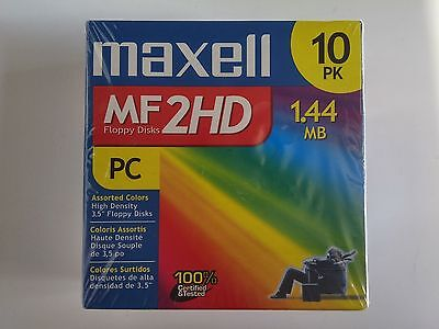 "*NEW* 10 Rainbow Color Maxell Diskettes MF2HD PC Formatted 1.44 MB 3.5"" Floppy"