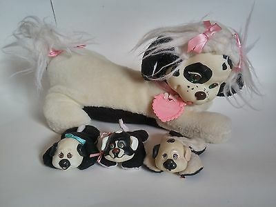 Puppy Kitty Surprise Black White 1991 Vintage with 3 Baby Puppies Stuffed Animal