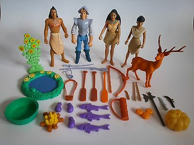 HUGE LOT 1994 Disney Pocahontas Action Figure Set 66510 Jon Smith Kocoum Nakoma