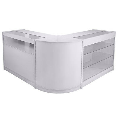 Shop Counters Retail Display Storage Cabinets Glass Shelves Lockable - White