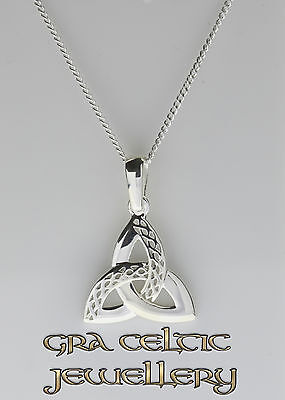 Intertwined Celtic Weave on Trinity Knot Pendant - MADE IN IRELAND - 925 SILVER