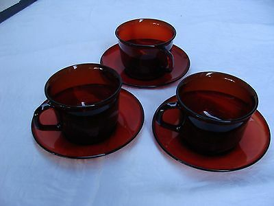 Ruby Red  Arcoroc France Replacement Cups & Saucers