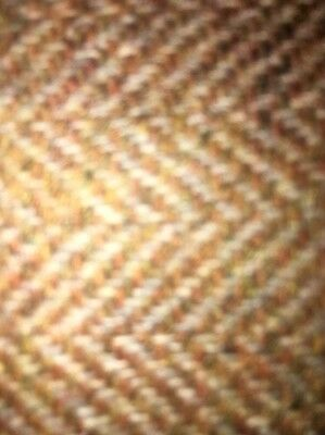 "Vintage 100% Wool Tan Tweed Fabric Donegal Specks Green-Yellow-Red 43"" X 60"""