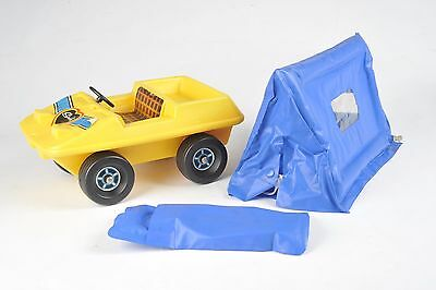Sindy Doll Camping yellow Buggy with blue blow up tent - Vintage 1980's 44542