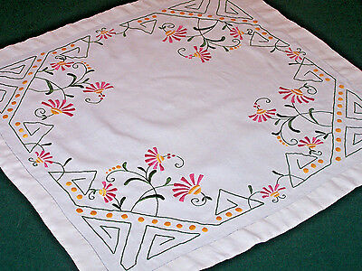 SPECTACULAR VINTAGE ART DECO EMBROIDERED TABLE TOPPER, TABLECLOTH, c1920-1930