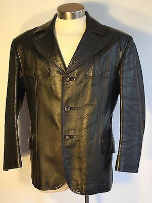 MEDIUM TO LARGE BLACK 1970's LEATHER JACKET. MADE BY ARMO MELBOURNE.
