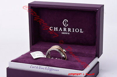 CHARRIOL Sterling Silver Topaz PVD Cable Ring Size 6 3/4