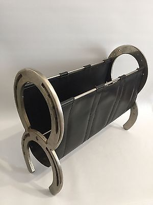 Design Zeitungsständer Hufeisen Magazine Holder 50s Horseshoe Leather Adnet Era