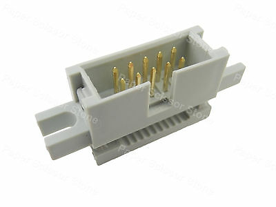 """5Pcs 10 Pin 2.54mm 0.1""""P Male IDC Flat Cable Box Header Connector w/Mounting Ear"""