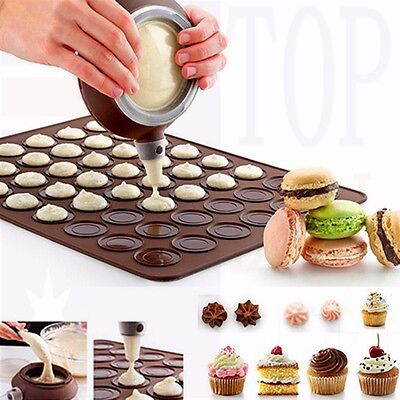 Silicone Pastry Macaron Baking Mould Sheet Mat Decorating Pen Nozzles Kitchen