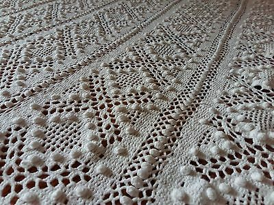 """Antique Vintage French Old Crochet Bed Cover Lace Handmade, Hand knitted 80""""/69"""""""
