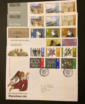 6x 1971 First Day Covers