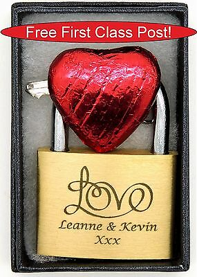 "Personalised Engraved 40mm Padlock, BOLD ENGRAVING with ""LARGE LOVE"", Box & Choc"