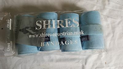 Shires Bandages X4 Baby Blue Leg Tail, Show Travel Stable Yard