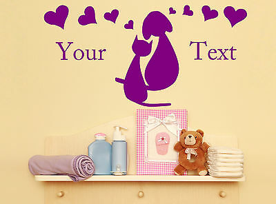 Personalised Cat And Dog In Love Your Text Sticker Decal Kids Bedroom Decor