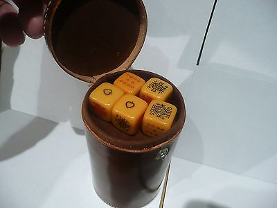 VINTAGE c.1940s POKER DICE SET IN LEATHER CUP - MADE IN ENGLAND
