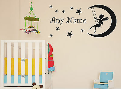 Personalised Tinkerbell On The Moon Any Name Wall Sticker Decal Kids Bedroom