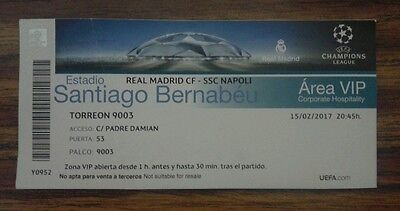 Vip Ticket For Collectors: Real Madrid - As Napoli Champion League 16/17 Rare