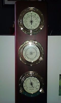 Vintage solid wood and metal weather reader with ship portal displays