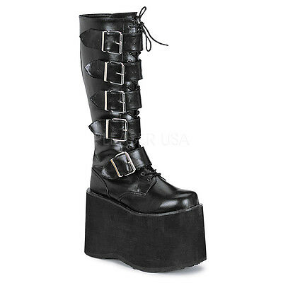 Demonia Mega 618 Goth Punk Rock Black 5 Buckle Ladies Platform High Knee Boots