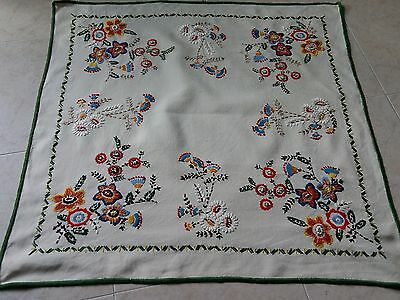 Uniquely Beautiful Handmade Linen Tablecloth, Hand embroidery, Floral design