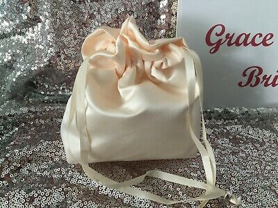 CREAM DUCHESS SATIN DOLLY BAG BRIDAL BRIDESMAID FLOWER GIRL BNIP **free samples*