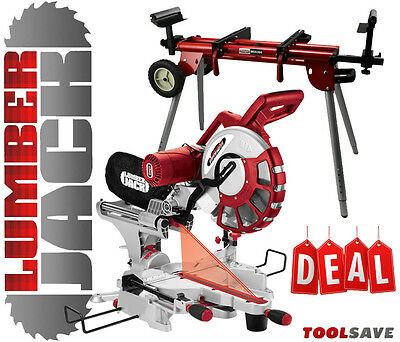 """Lumberjack 12"""" Sliding Compound Mitre Saw with Mobile Universal Stand 240v"""